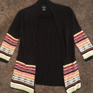 EUC Rue21 Cardigan Black w/cute pattern sz  small